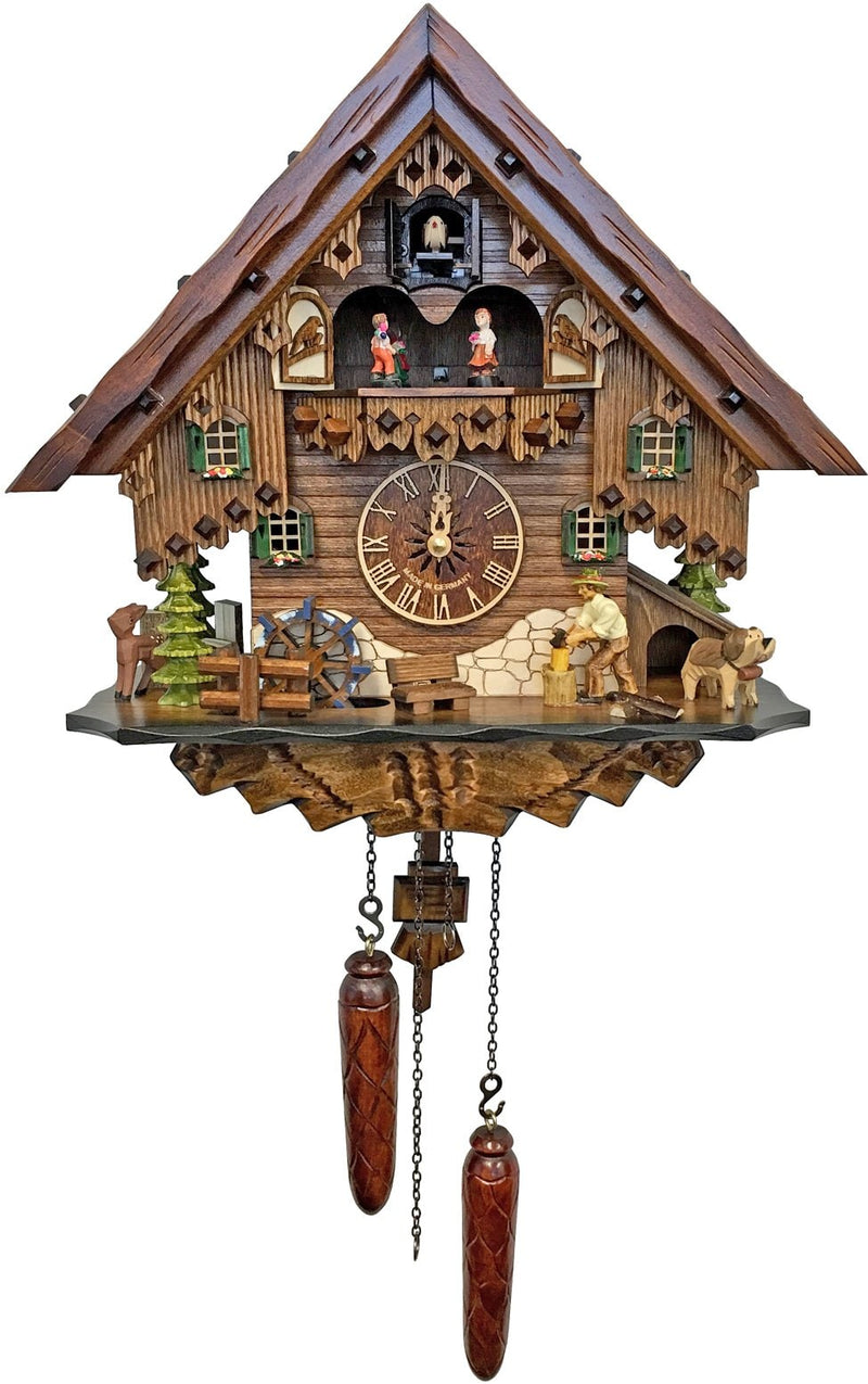 "Battery-operated Cuckoo Clock - Full Size - 13""H x 14""W x 7.5""D - German Cuckoo Clocks"