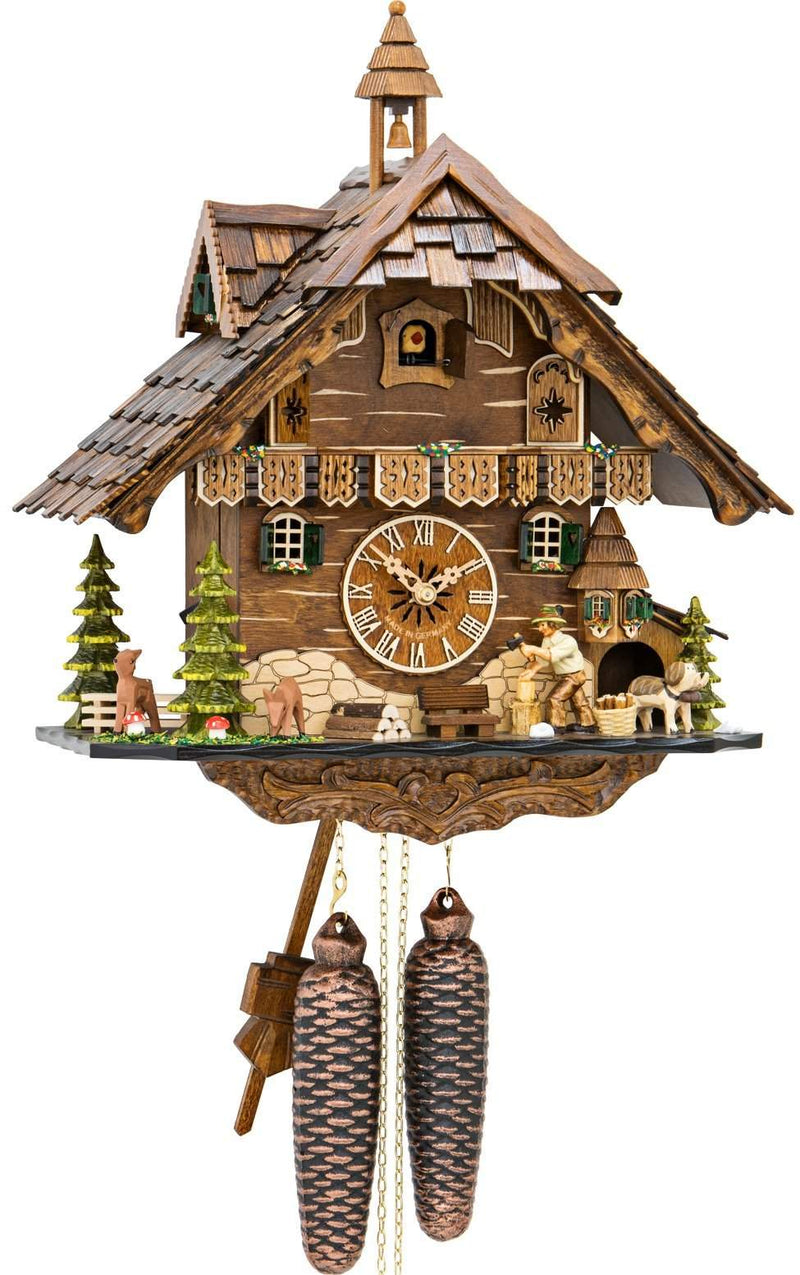 "Weight-driven Cuckoo Clock with 8-Day weight driven movement - Full Size - - 13.5""H x 13.5""W x 9""D - German Cuckoo Clocks"