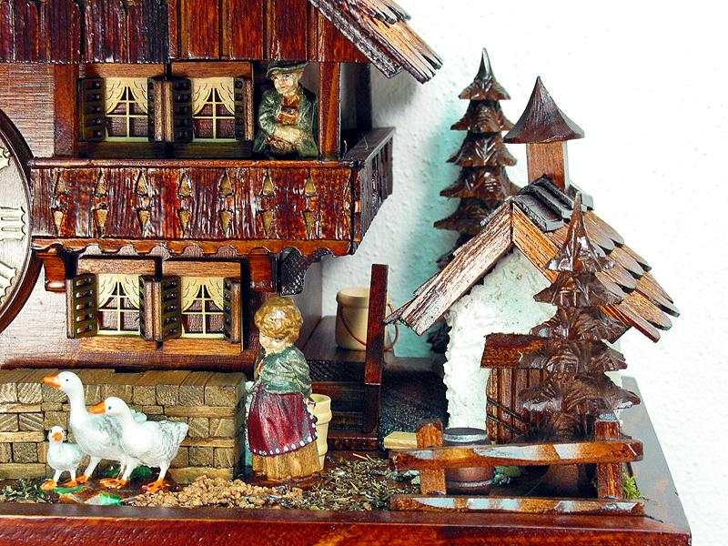 8 Day Musical Chalet Clock Geese Balcony Farm House 17.7 Inches