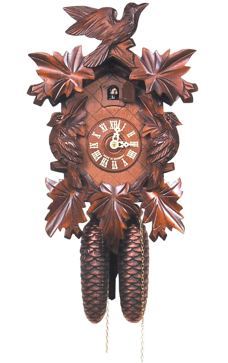 "Cuckoo Clock, Carved with 8-Day weight driven movement - Full Size - 14""H x 9.5""W x 6""D - German Cuckoo Clocks"