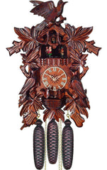 "Cuckoo Clock, Carved with 8-Day weight driven movement - Full Size - 18""H x 12.5""W x 8""D - German Cuckoo Clocks"