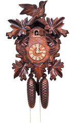 "Cuckoo Clock, Carved with 8-Day weight driven movement - Full Size - 15.5""H x 11.75""W x 6.25' - German Cuckoo Clocks"