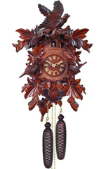 "Cuckoo Clock, Carved with 8-Day weight driven movement - Full Size - 17.5""H x 11.75""W x 7""D - German Cuckoo Clocks"