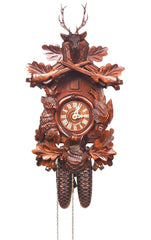 "Cuckoo Clock, Carved with 8-Day weight driven movement - Full Size - 18.5""H x 12""W x 9""D - German Cuckoo Clocks"