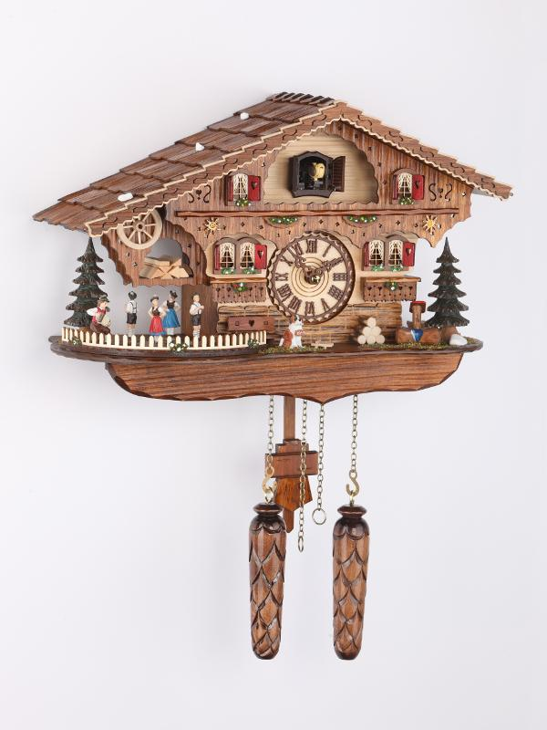 Battery-operated Chalet Clock -  Bayrische Dancers - 13 inches