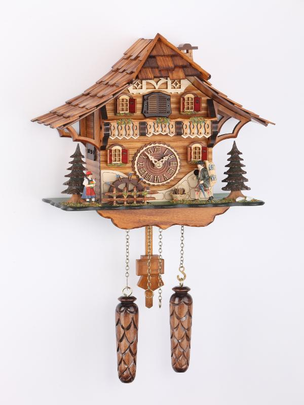 Battery-operated Chalet Clock -   Clock Peddler and Waterwheel- 10 inches