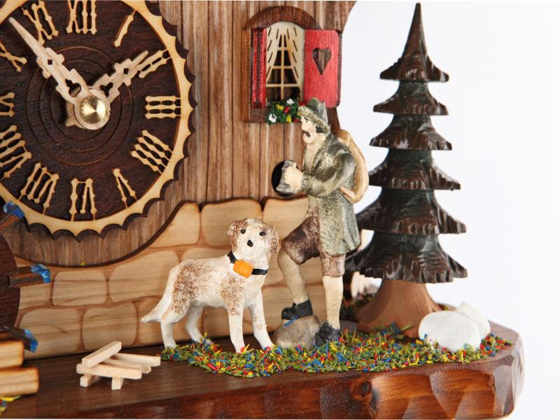 Battery-operated Chalet Clock -   Hunter/Turning Waterwheel- 14 inches