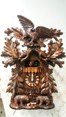 8 Day Musical Carved Clock Eagles Bears - German Cuckoo Clocks