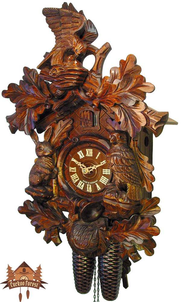 Cuckoo Clock 8-day-movement Carved-Style 48cm by August Schwer - German Cuckoo Clocks