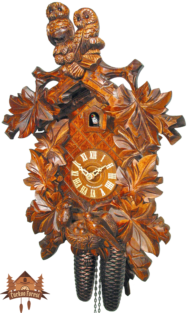 Cuckoo Clock 8-day-movement Carved-Style 42cm by August Schwer - German Cuckoo Clocks