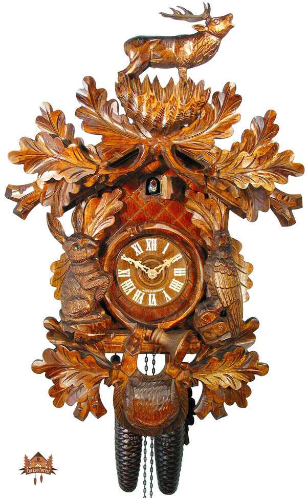 Cuckoo Clock 8-day-movement Carved-Style 57cm by August Schwer - German Cuckoo Clocks