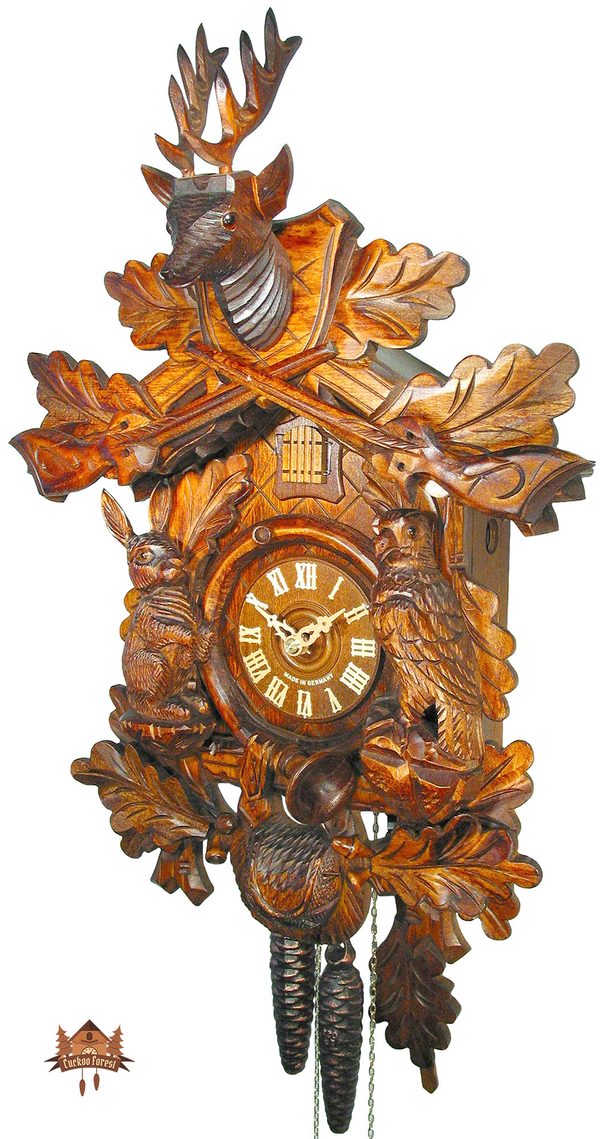 Cuckoo Clock 1-day-movement Carved-Style 50cm by August Schwer - German Cuckoo Clocks