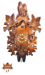 8-Day Musical Carved Clock 2 Owls 21.65 inches