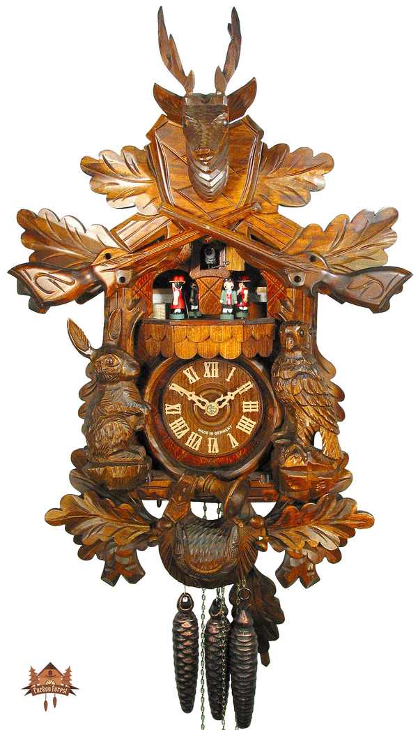 Cuckoo Clock 1-day-movement Carved-Style 53cm by August Schwer - German Cuckoo Clocks