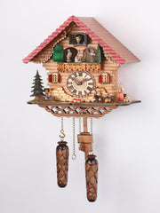 Battery-operated Chalet Clock - Turning Dancers - 13 inches
