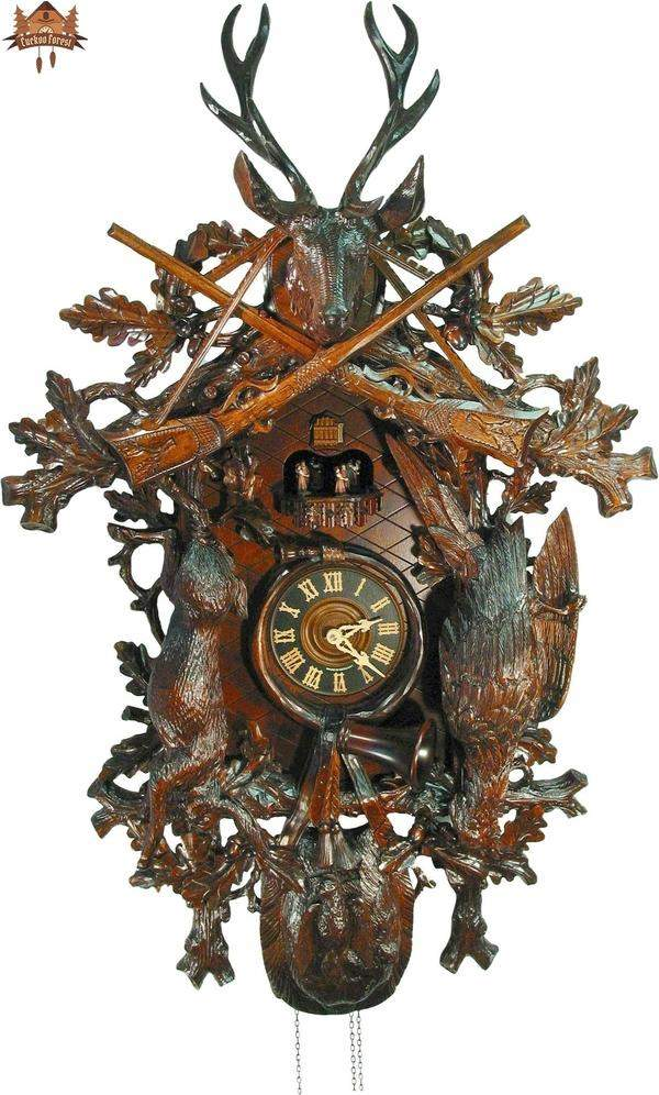 8 day Musical Carved Clock Stag Hunting Motif 35  inch