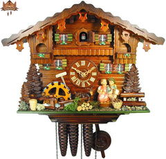1-Day Musical Chalet Clock Kissing Couple Clock 14 inch - German Cuckoo Clocks