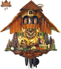 1 Day Musical Chalet Clock Boy Fetching Water, 13.8inch - German Cuckoo Clocks