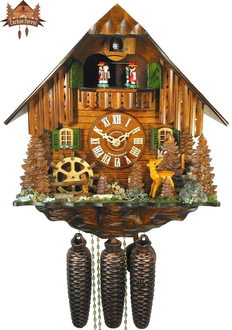 8-Day Musical Chalet Clock Black Forest Farmstead Deer, 13.4 inch