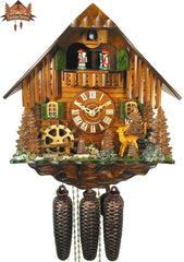 8-Day Musical Chalet Clock Black Forest Farmstead Deer, 13.4 inch - German Cuckoo Clocks