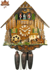 8-Day Musical Chalet Clock Farmstead Cow, 13.4inch - German Cuckoo Clocks