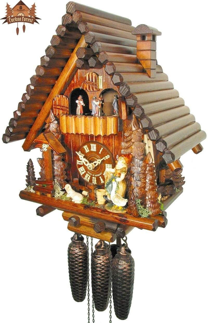 8-Day Musical Chalet Clock Log House with Girl and Lamb 15 inch - German Cuckoo Clocks