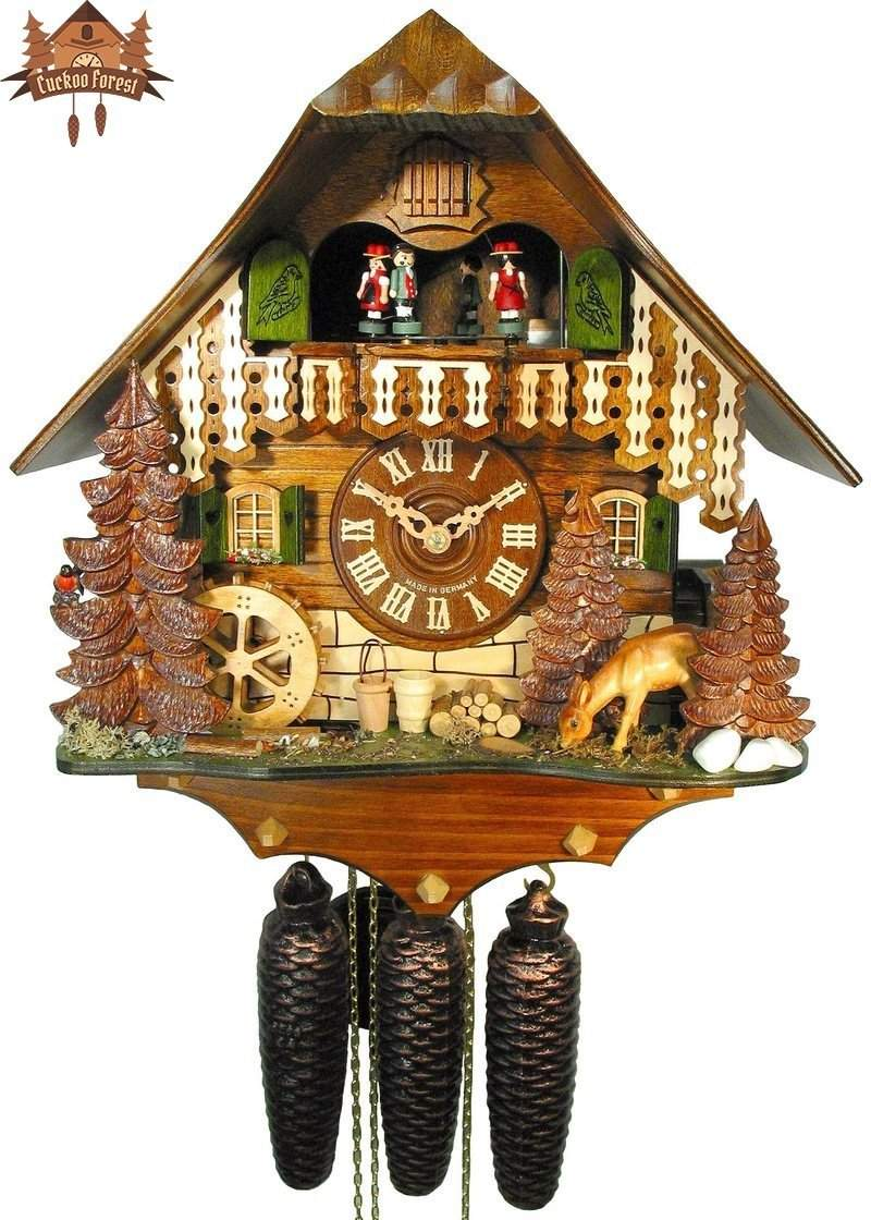 Cuckoo Clock 8-day-movement Chalet-Style 35cm by August Schwer - German Cuckoo Clocks