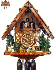 8-Day Musical Chalet Clock Timberframe House Wood Chopper Dog, 15.7inch - German Cuckoo Clocks