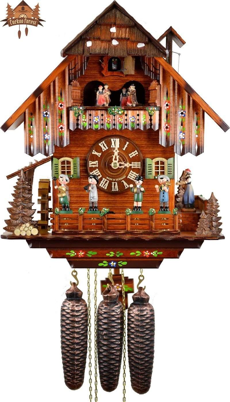 8-Day Musical Chalet Clock Musicians Painted Overhang Bell Ringer 16 inch - German Cuckoo Clocks