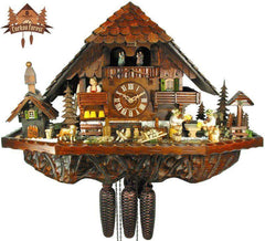 8 Day Musical Chalet Clock Farmstead Beer drinkers 16.9 inches - German Cuckoo Clocks