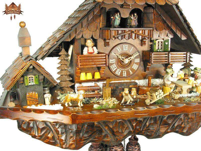 8 Day Musical Chalet Clock Farmstead Beer drinkers 16.9 inches