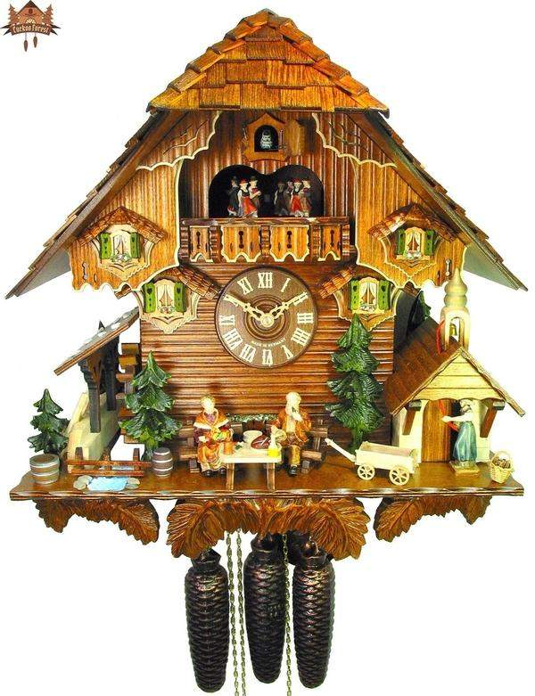 8-Day Music Chalet Clock Grandmother Grandfather 17.3inch - German Cuckoo Clocks
