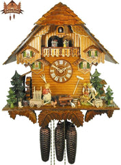 8-Day Musical Clock Chalet Family Farmyard 17 inches