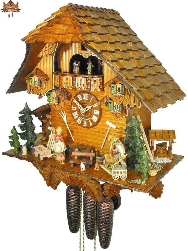 8-Day Musical Clock Chalet Family Farmyard 17 inches - German Cuckoo Clocks