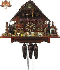 8 Day Musical Chalet Clock Geese Balcony Farm House 17.7 Inches - German Cuckoo Clocks