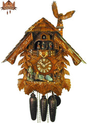 8-Day Musical Chalet Clock Eagle Perched, 19.7 inch