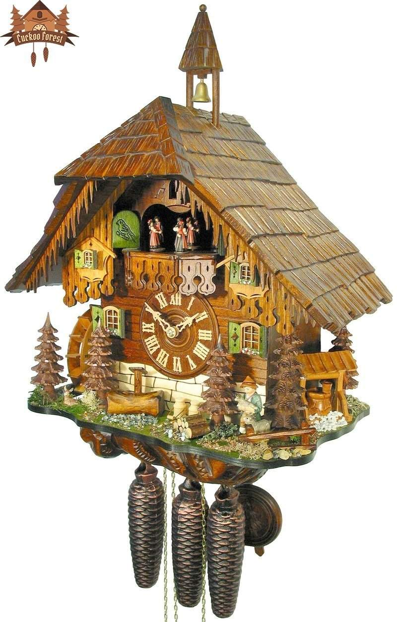 8-Day Musical Chalet Clock Icicles Boy 20 inch - German Cuckoo Clocks