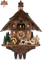 8 Day Musical Chalet Clock Horse Bell Tower 27.2 inches