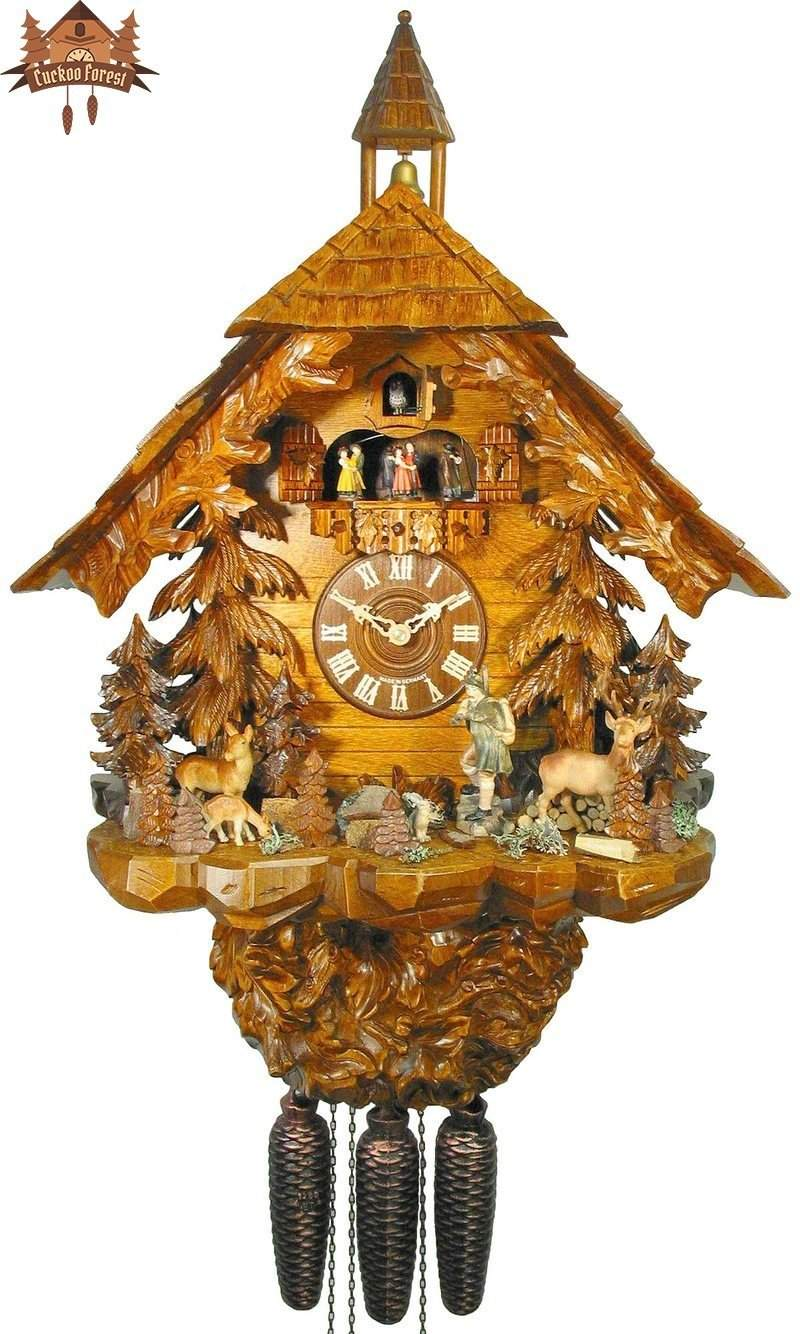 8-Day Musical Chalet Clock Hunter Deer and Game 28 inch - German Cuckoo Clocks