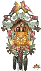 8-Day Musical Carved Clock Birds in Leaves 22.5 inches - German Cuckoo Clocks