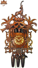 8-Day Musical Carved Clock Edelweiss & Ibex, 22 inch