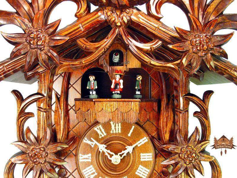 8-Day Musical Carved Clock Edelweiss & Ibex, 22 inch - German Cuckoo Clocks