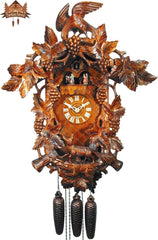 8-Day Musical Carved Clock Fox and Grapevine, 24inch