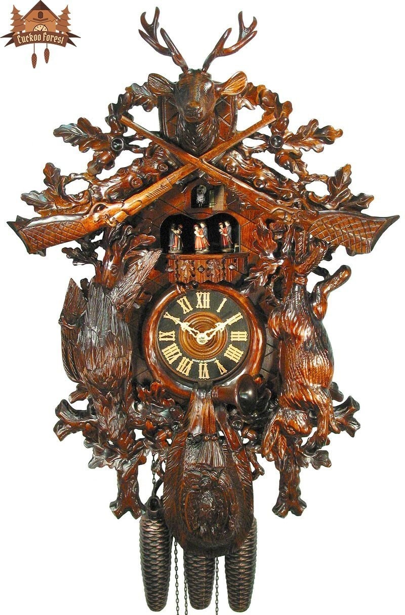 8 day Musical Carved Clock Stag Bird Rabbit 26 inches