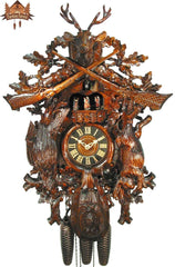 8 day Musical Carved Clock Stag Bird Rabbit 26 inches - German Cuckoo Clocks