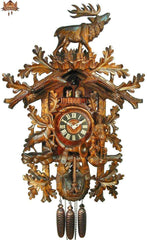 8 Day Musical Carved Clock Calling Stag 35 inches