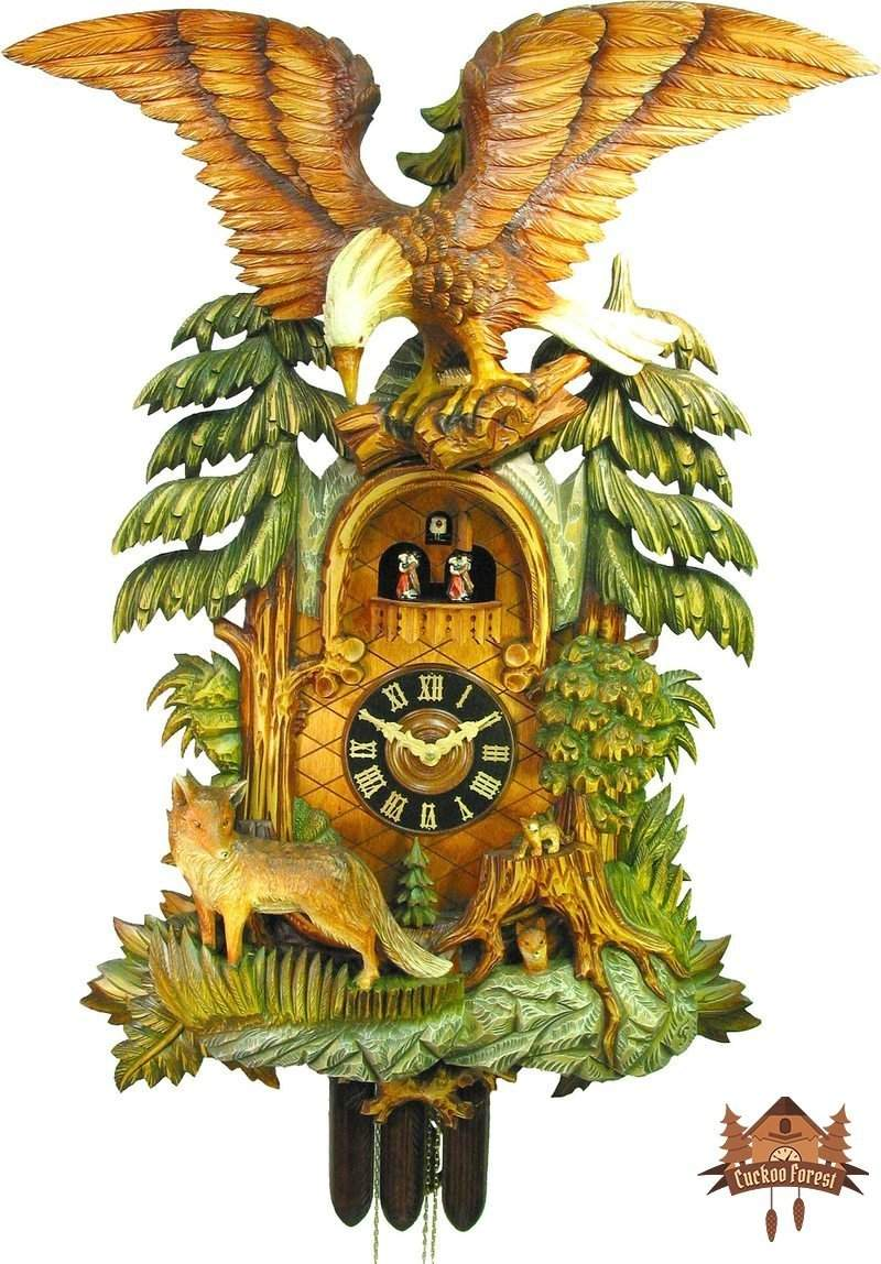 8 Day Musical Carved Eagle and Fox 37 inch - German Cuckoo Clocks