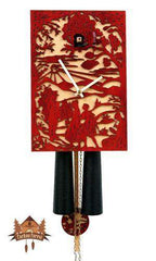 8-Day Cuckoo Clock Silhouette Design, red, 11inch Silhouette Models - German Cuckoo Clocks