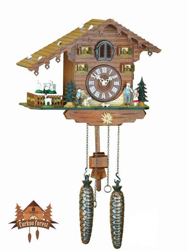 Quartz Cuckoo Clock Turning Goats, 8.66 inch Quartz Cuckoo Clocks - German Cuckoo Clocks