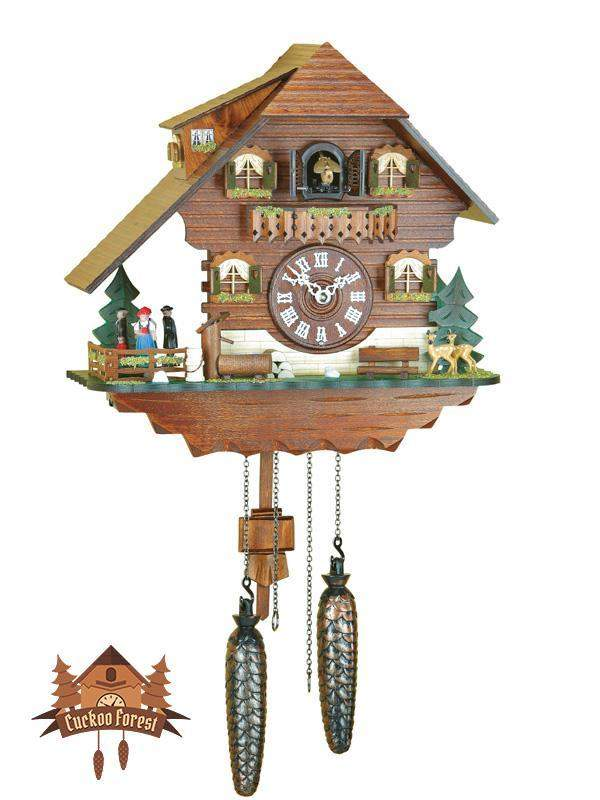 Quartz Cuckoo Clock Turning Dancers, 11.4inch Quartz Cuckoo Clocks - German Cuckoo Clocks